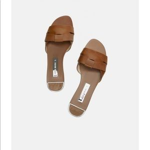 Zara leather crossover sandal tan